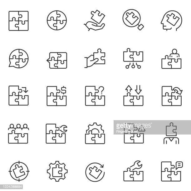 puzzle-symbol-set - puzzle stock-grafiken, -clipart, -cartoons und -symbole