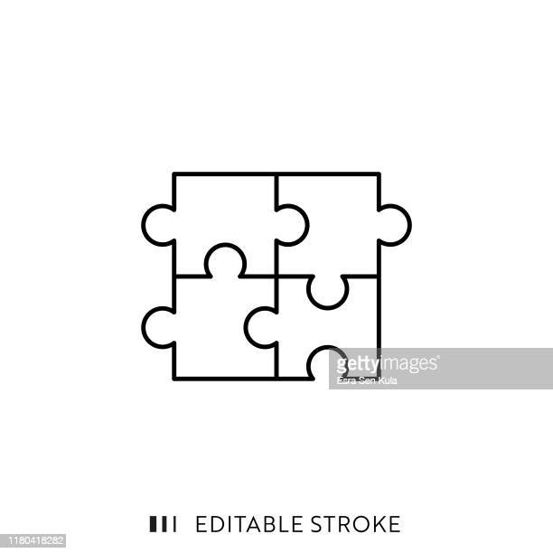 puzzle icon with editable stroke and pixel perfect. - puzzle stock illustrations