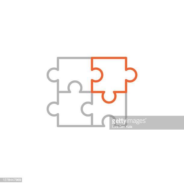 illustrazioni stock, clip art, cartoni animati e icone di tendenza di icona puzzle con tratto modificabile - puzzle
