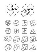 Puzzle icons set - complete and incomplete