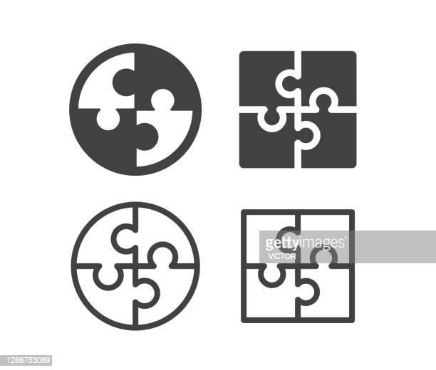 puzzle - illustration icons - puzzle stock-grafiken, -clipart, -cartoons und -symbole
