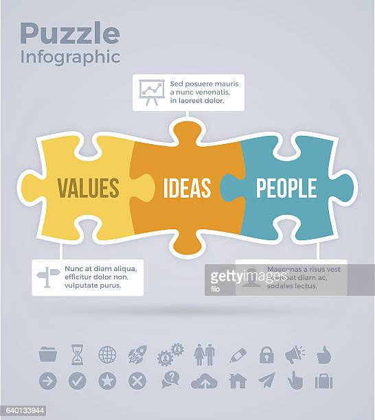 puzzle infographic - three objects stock illustrations