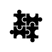 puzzle - jigsaw icon, vector illustration, black sign on isolated background