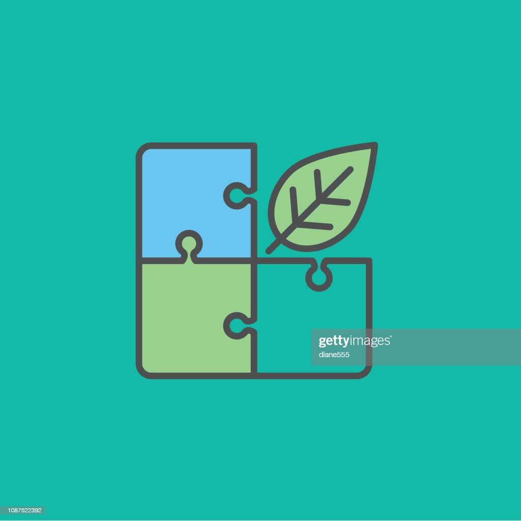 Cassetête Feuilles Environnement Fine Ligne Icône Illustration - Getty  Images