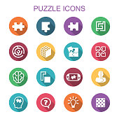 puzzle long shadow icons