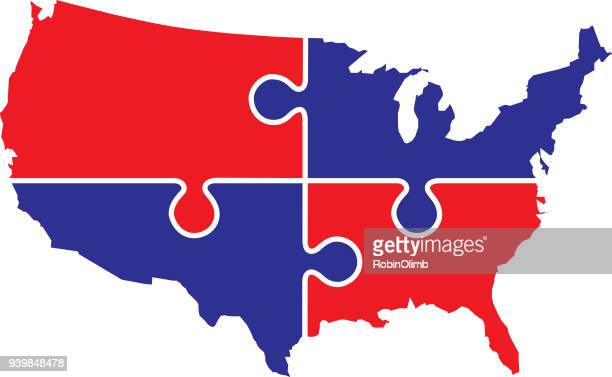 usa puzzle map - us republican party stock illustrations, clip art, cartoons, & icons