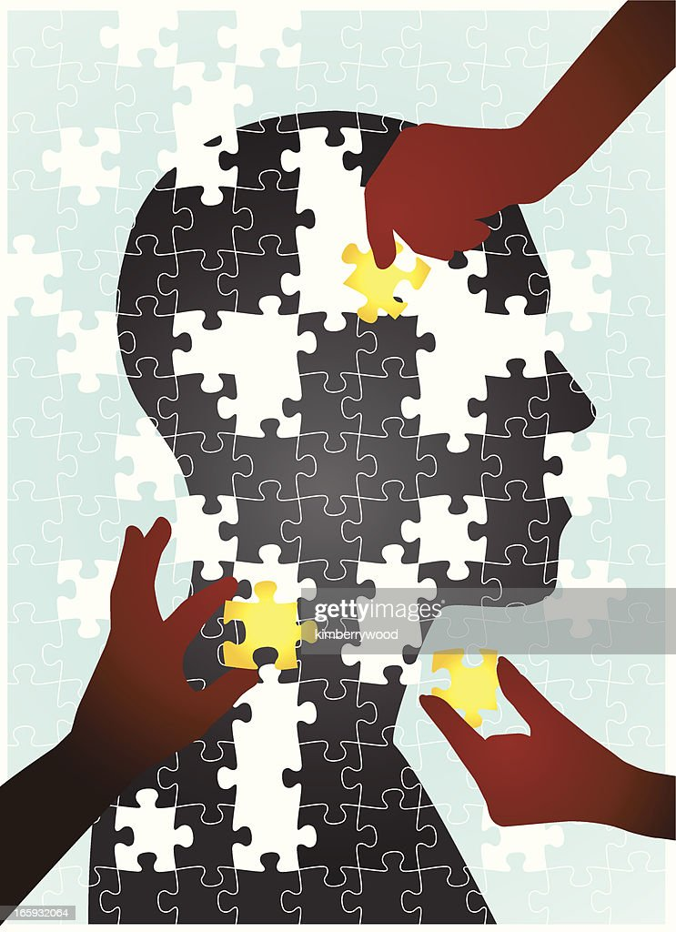 Puzzle of human silhouette with pieces put together by hands : stock illustration