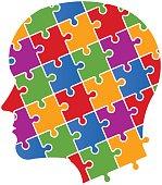 Puzzle people head image illustration