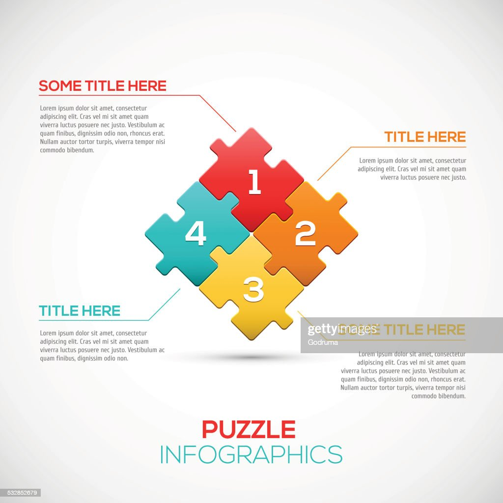 Puzzle piece 3D infographics business concept vector