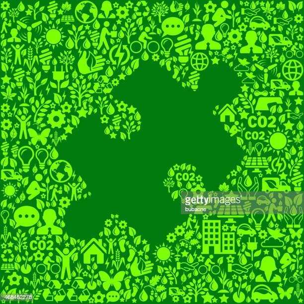 Pièce du Puzzle vert sur la protection de l'Environnement et Nature icône motif