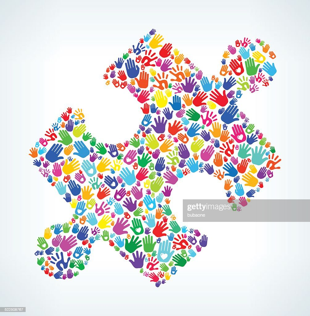 Puzzle Piece On Hands Pattern White Background Vector Art Getty Images