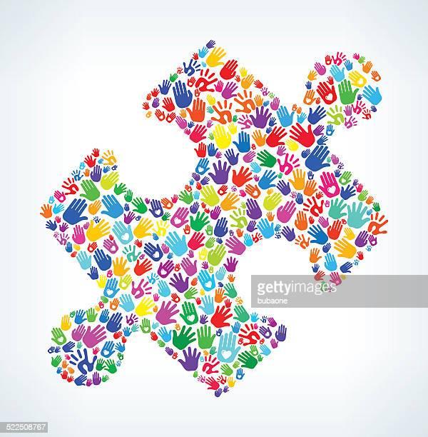 ilustraciones, imágenes clip art, dibujos animados e iconos de stock de rompecabezas de piezas en manos de patrón de fondo blanco - huella de mano