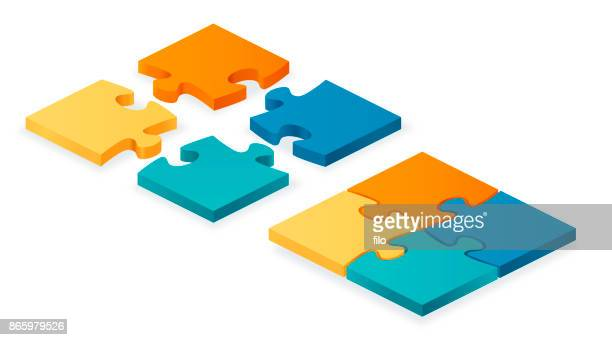 puzzle pieces together and apart - part of stock illustrations