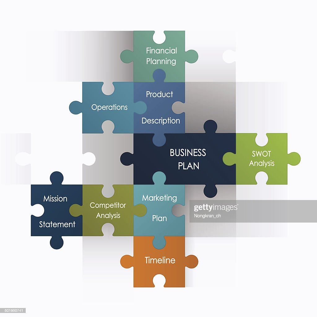 Puzzle pieces with business plan