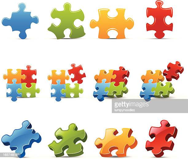 puzzle prices in different colors and art styles  - jigsaw piece stock illustrations, clip art, cartoons, & icons