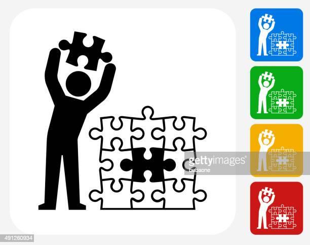 puzzle stick figure icon flat graphic design - jigsaw stock illustrations
