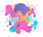 Puzzle style liquid shape pastel color abstract.