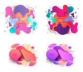 Puzzle style liquid shapes pastel and sharp color abstract backgrounds set. Decorative art elements for poster, banner, print, children. Color template layout. Eps10 vector illustration.