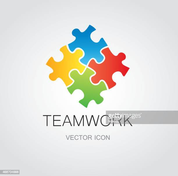 puzzle symbol - four objects stock illustrations
