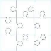 Four Hands Putting Puzzles Puzzle Template 9 Pieces Vector