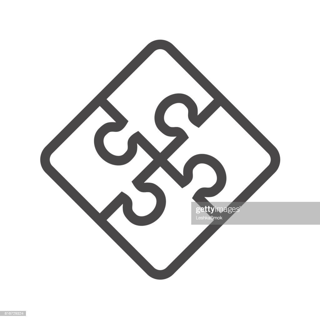 Puzzle Thin Line Vector Icon