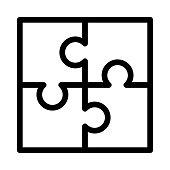 puzzle Vector Thin Line Icon