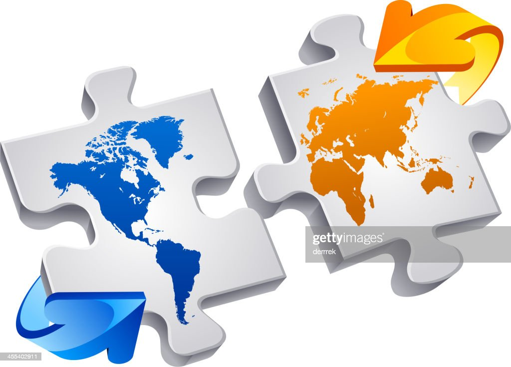 Puzzle world map vector art getty images puzzle world map vector art gumiabroncs Images