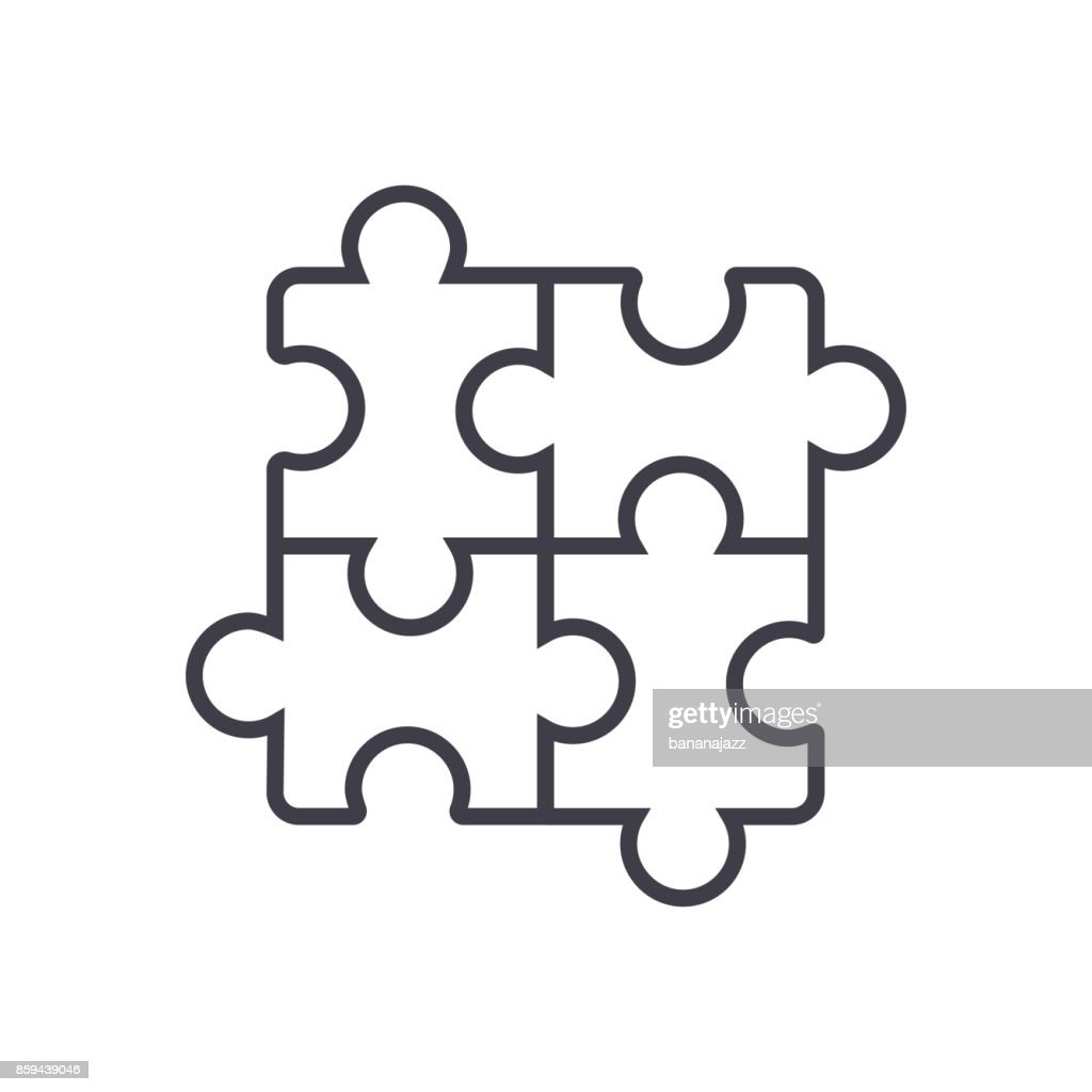 puzzle,jigsaw vector line icon, sign, illustration on background, editable strokes