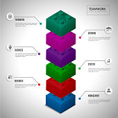 Puzzles block step element for infographic.