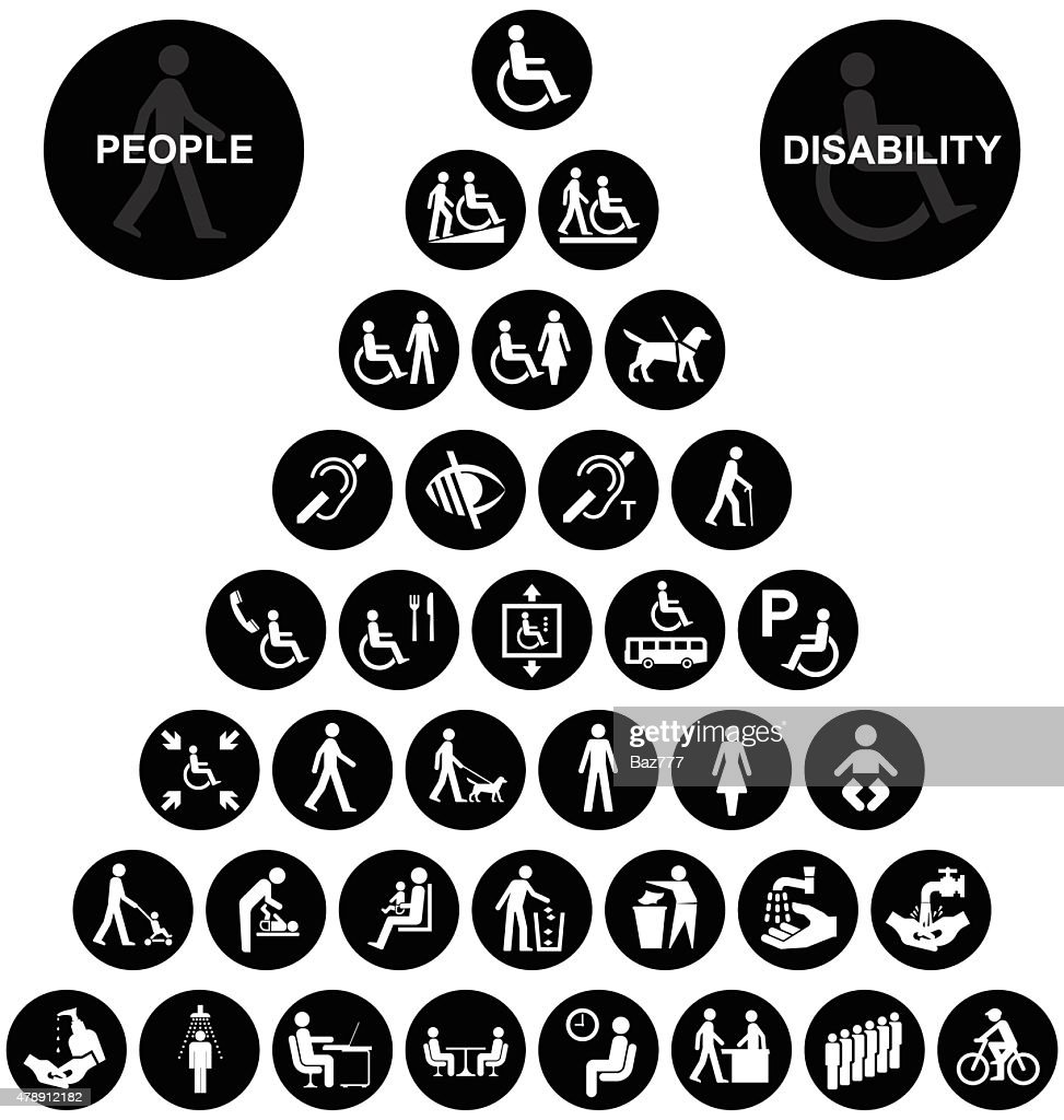 Pyramid disability and people Icon collection
