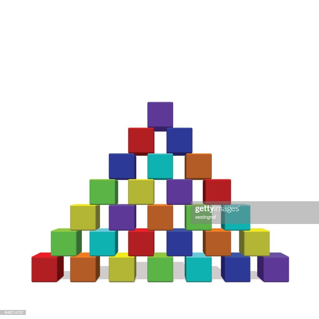 Pyramid from toy building blocks. Vector colorful illustration.Front view.