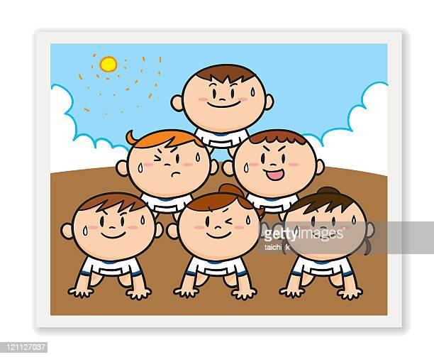 ilustraciones, imágenes clip art, dibujos animados e iconos de stock de pirámide - educacion fisica