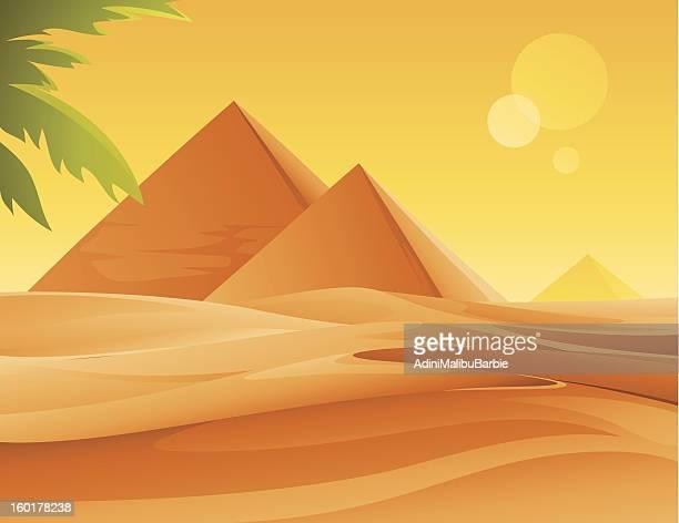ilustrações, clipart, desenhos animados e ícones de pirâmides e deserto - cultura egípcia