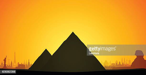 pyramids, egypt (complete, detailed, moveable buildings) - the sphinx stock illustrations, clip art, cartoons, & icons