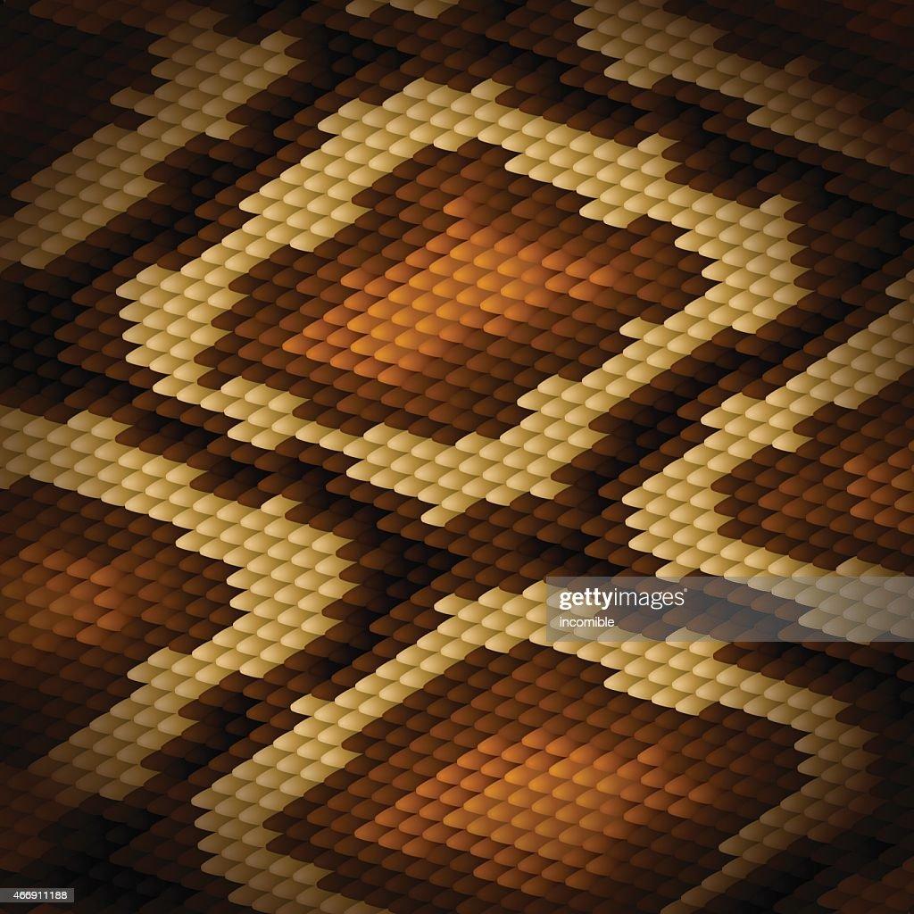 Python snake skin brown background. Vector illustration