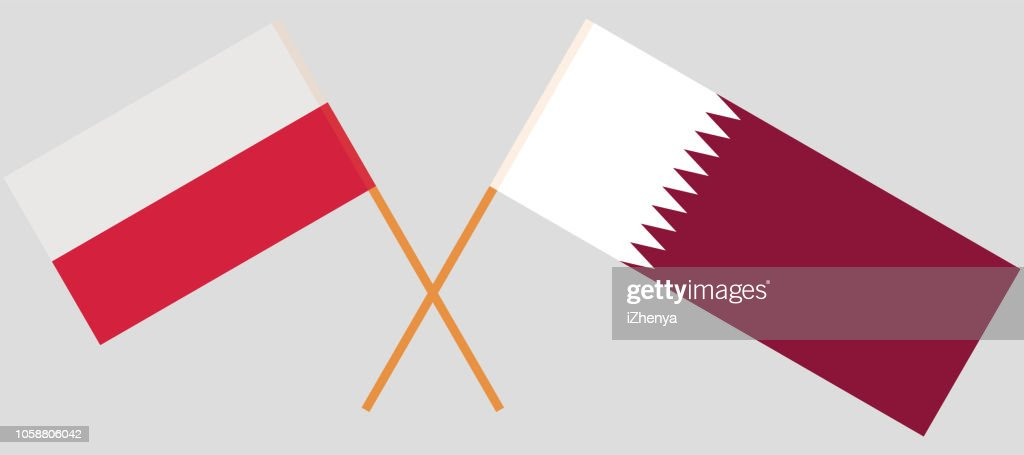 Qatar and Poland. The Qatari and Polish flags. Official colors. Correct proportion. Vector