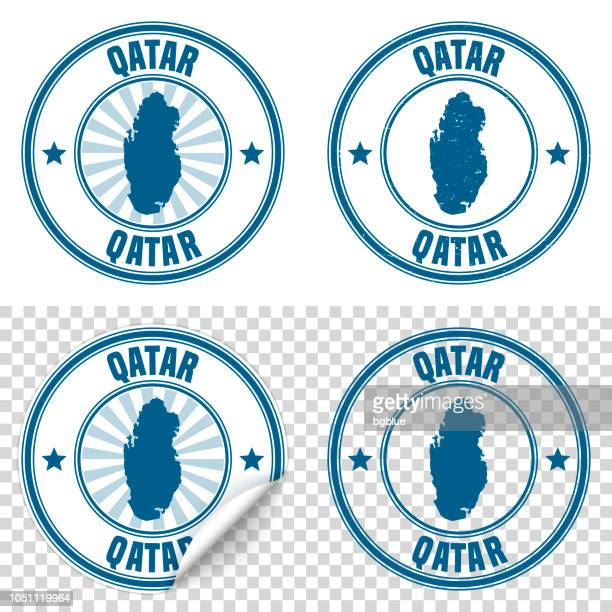 Qatar - Blue sticker and stamp with name and map