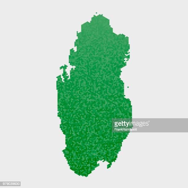 Katar-Land-Map-grünen Sechseck-Muster