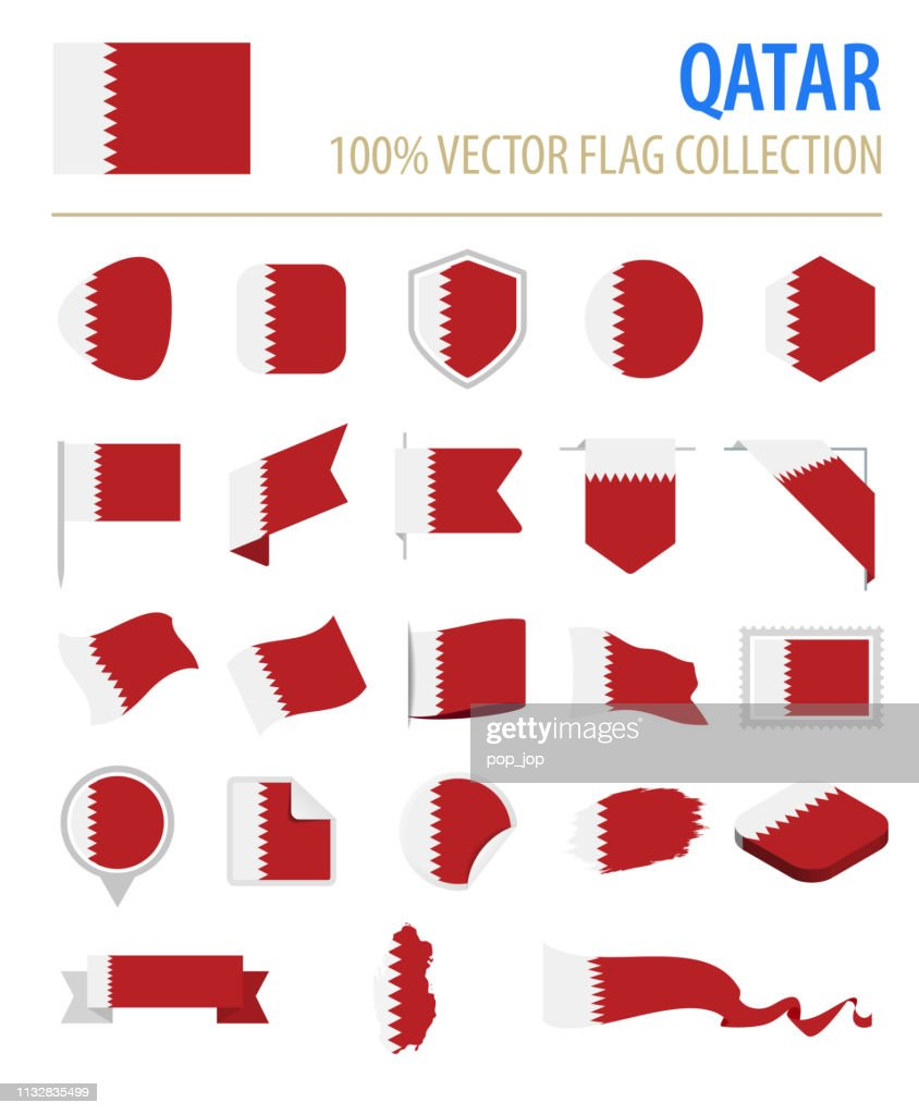 Qatar - Flag Icon Flat Vector Set : stock illustration