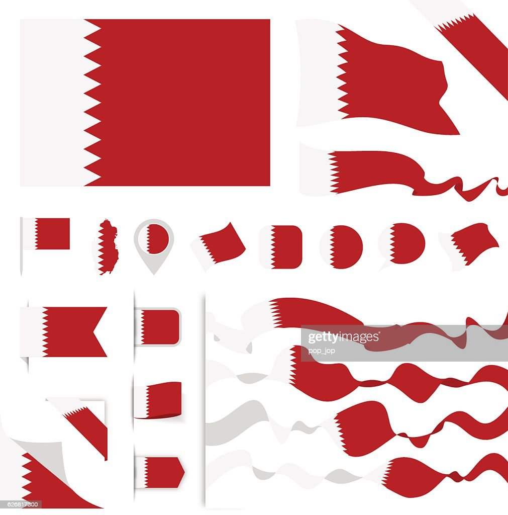 Qatar Flag Set : stock illustration