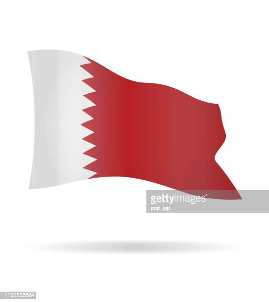 qatar - flying banner flag vector glossy icon - qatar stock illustrations, clip art, cartoons, & icons