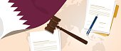Qatar law constitution legal judgment justice legislation trial concept using flag gavel paper and pen