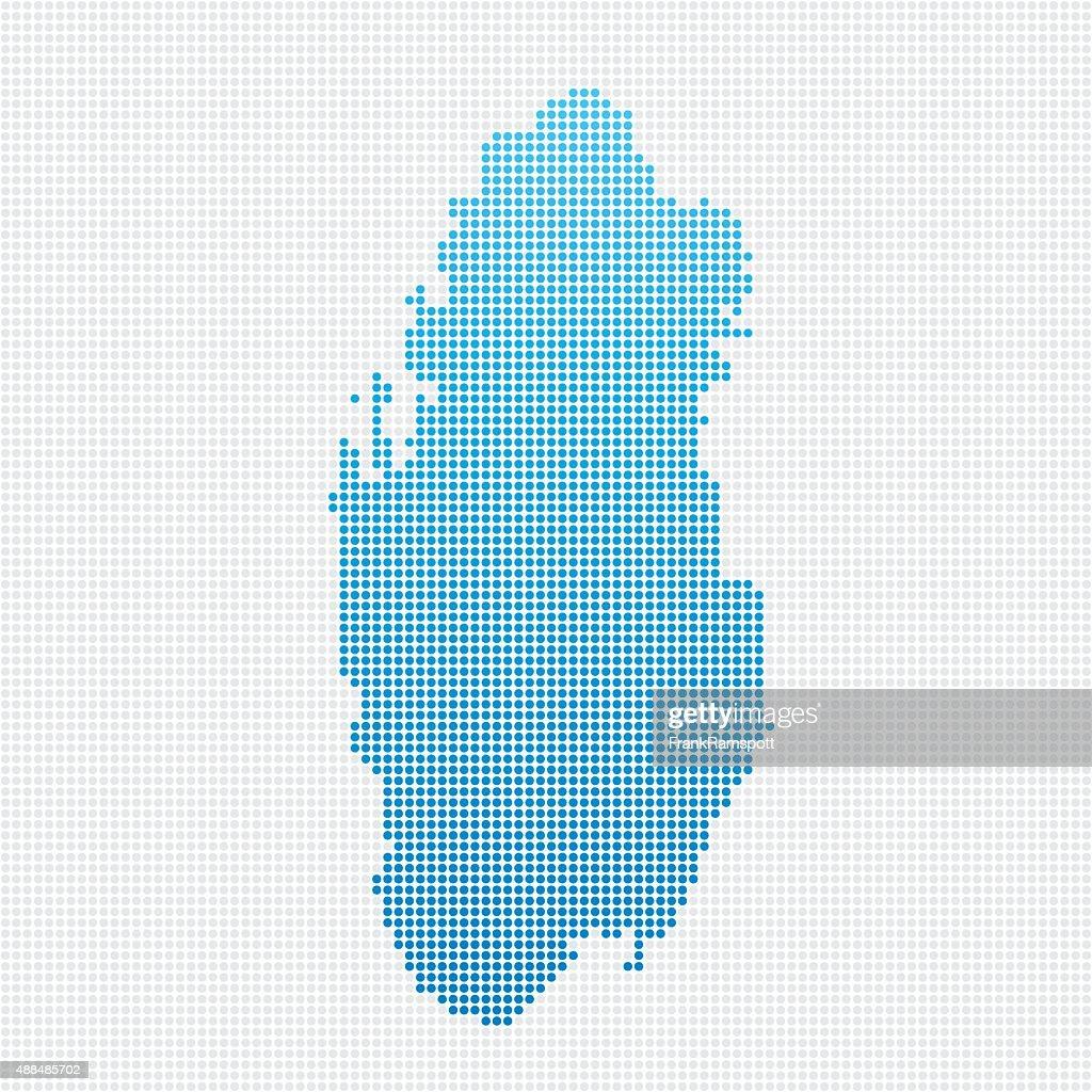 Qatar Map Blue Dot Pattern : stock illustration
