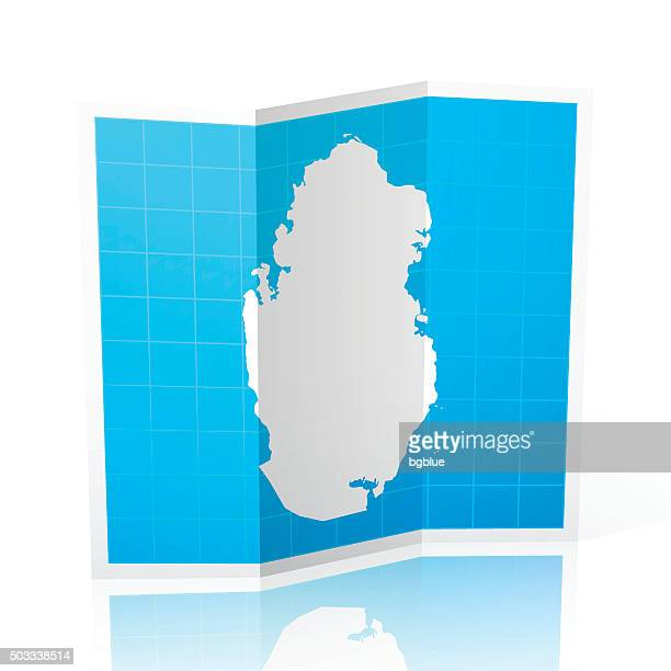 qatar map folded, isolated on white background - qatar stock illustrations, clip art, cartoons, & icons