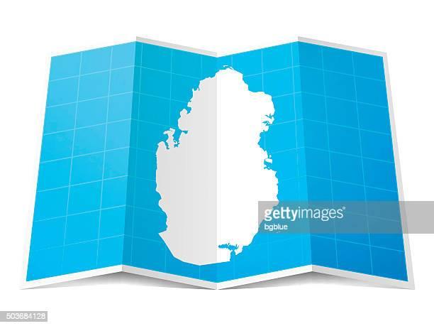 qatar map folded, isolated on white background - qatar stock illustrations, clip art, cartoons, & icons