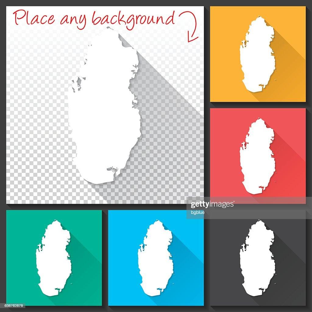Qatar Map for design, Long Shadow, Flat Design : stock illustration