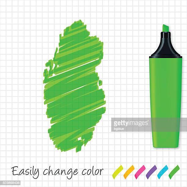 qatar map hand drawn on grid paper, green highlighter - qatar stock illustrations, clip art, cartoons, & icons