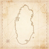 Qatar map in retro vintage style - old textured paper