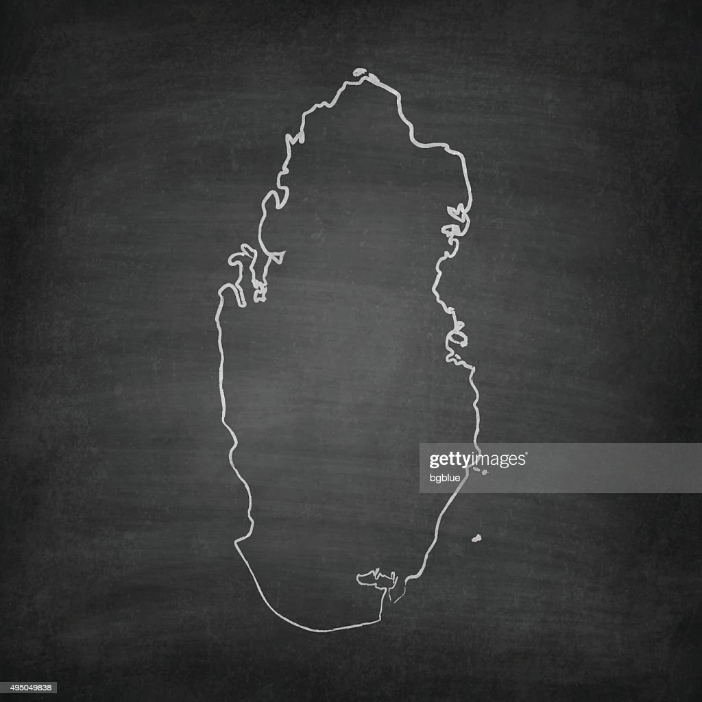 Qatar Map on Blackboard - Chalkboard : stock illustration