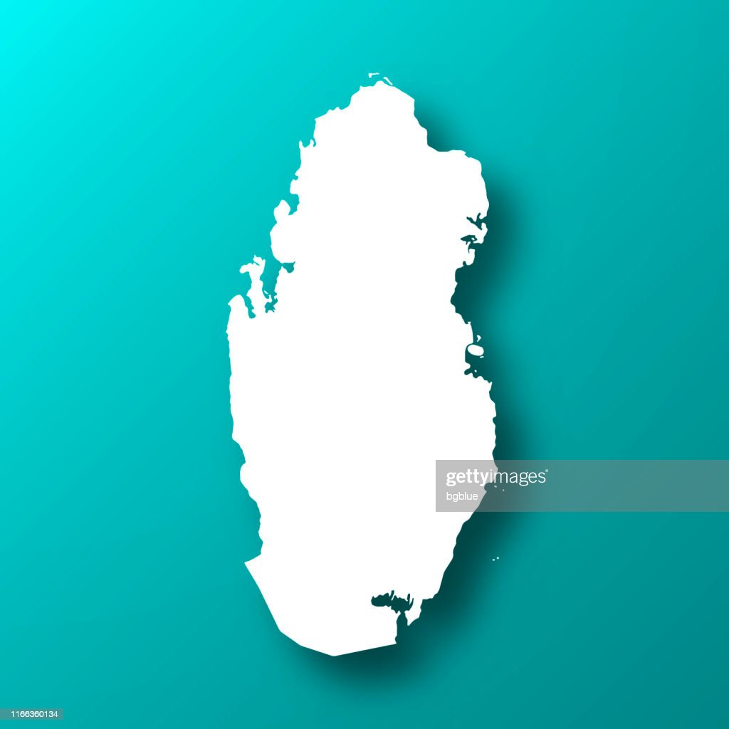 Qatar map on Blue Green background with shadow : stock illustration